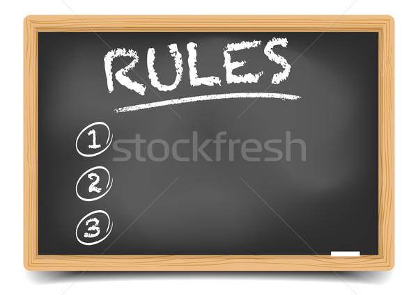 Iskolatábla lista szabályok részletes illusztráció üres Stock fotó © unkreatives