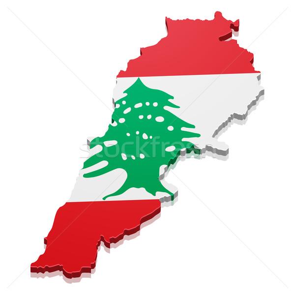地図 レバノン 詳しい 実例 フラグ eps10 ストックフォト © unkreatives
