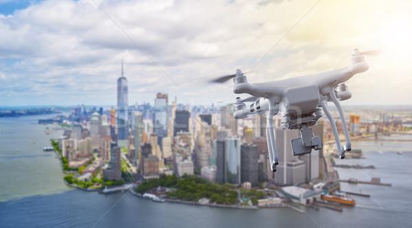 Drone flying over Manhatten New York City  Stock photo © unkreatives