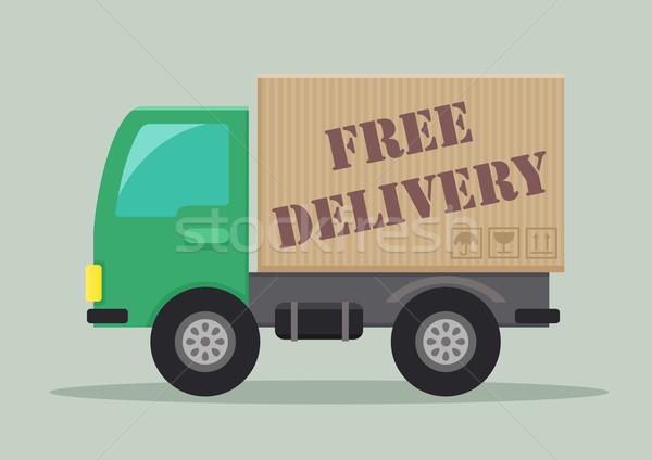 грузовик свободный подробный иллюстрация бесплатная доставка Label Сток-фото © unkreatives
