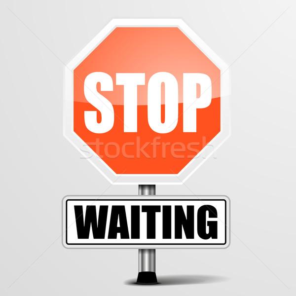Stop vár részletes illusztráció piros felirat Stock fotó © unkreatives