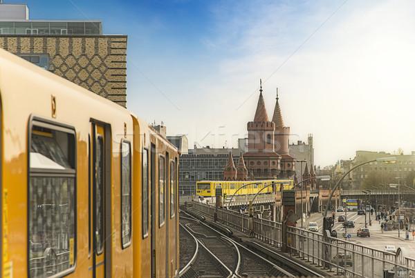 Berlin vonatok panorámakép kilátás arany este Stock fotó © unkreatives