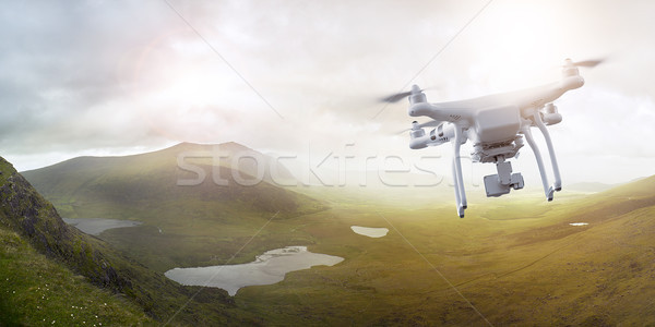 Drone flying over wonderful landscape Stock photo © unkreatives