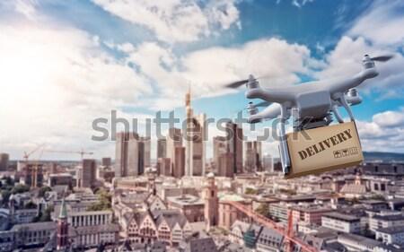 Drone over Frankurt Skyline Stock photo © unkreatives