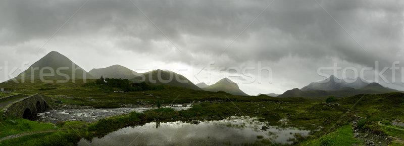 Schotse hooglanden panorama rivier meer bergen Stockfoto © unkreatives