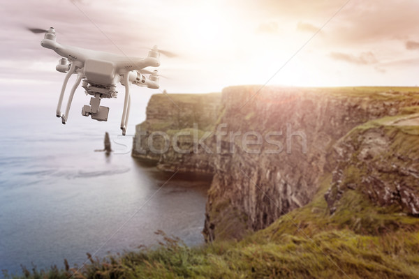 Drone flying over Cliffs of Moher Ireland Stock photo © unkreatives