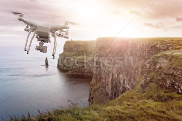 Flying Ирландия вечер солнце воды Сток-фото © unkreatives