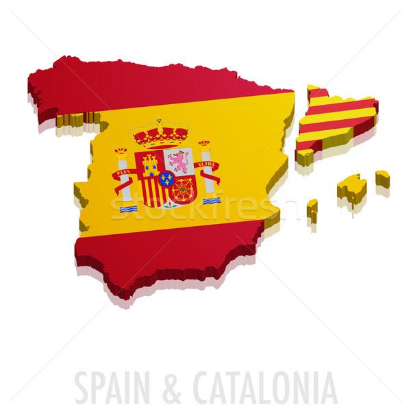 Stock fotó: Térkép · Spanyolország · részletes · illusztráció · zászló · eps10