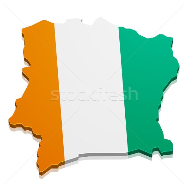Pokaż Wybrzeże Kości Słoniowej szczegółowy ilustracja banderą eps10 Zdjęcia stock © unkreatives