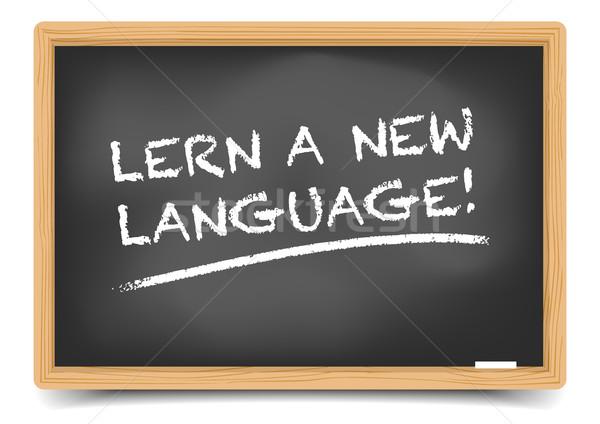 Lousa aprender linguagem detalhado ilustração novo Foto stock © unkreatives