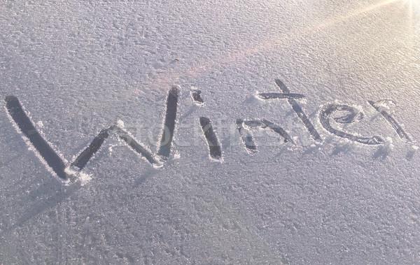 Tél autó szélvédő rajzolt fedett friss Stock fotó © unkreatives