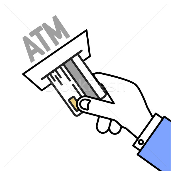 Cartão caixa eletrônico ilustração mão eps10 Foto stock © unkreatives