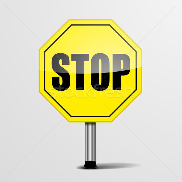 Сток-фото: дорожный · знак · остановки · подробный · иллюстрация · желтый · знак · остановки
