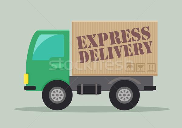 Camion de livraison express détaillée illustration livraison express étiquette Photo stock © unkreatives