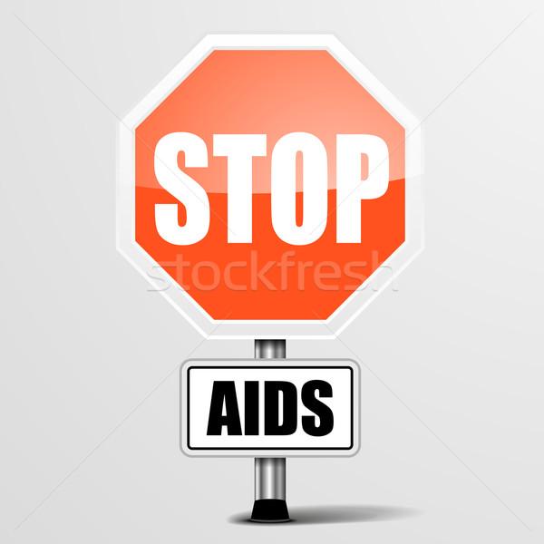 Stop aiuti dettagliato illustrazione rosso Foto d'archivio © unkreatives