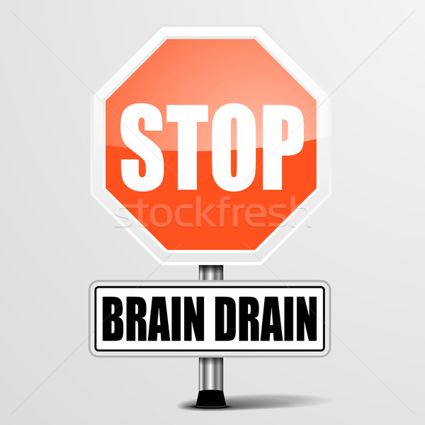 Stoppen hersenen drain gedetailleerd illustratie Rood Stockfoto © unkreatives