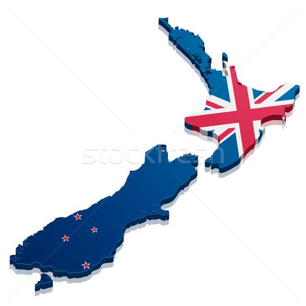 Térkép Új-Zéland részletes illusztráció zászló eps10 Stock fotó © unkreatives