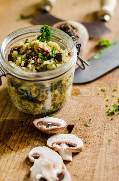Salad In Jar On Chopping Board Stock photo © unkreatives