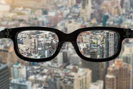 Hand glasses cityscape Stock photo © unkreatives