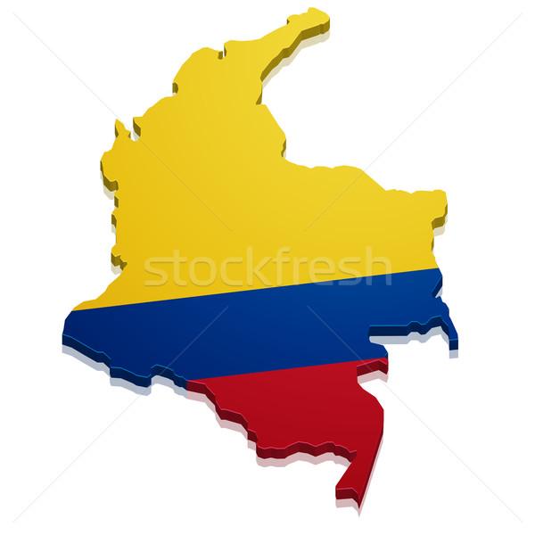 Térkép Colombia részletes illusztráció zászló eps10 Stock fotó © unkreatives