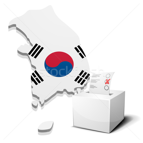 Zuid-Korea gedetailleerd illustratie kaart eps10 vector Stockfoto © unkreatives