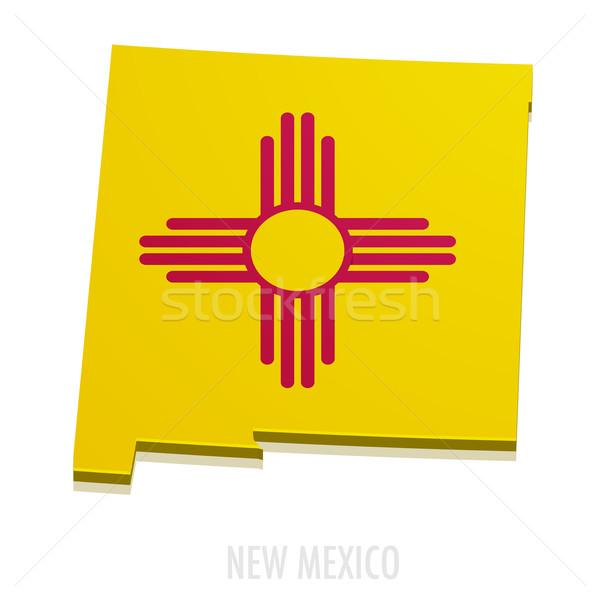 Harita New Mexico ayrıntılı örnek bayrak eps10 Stok fotoğraf © unkreatives