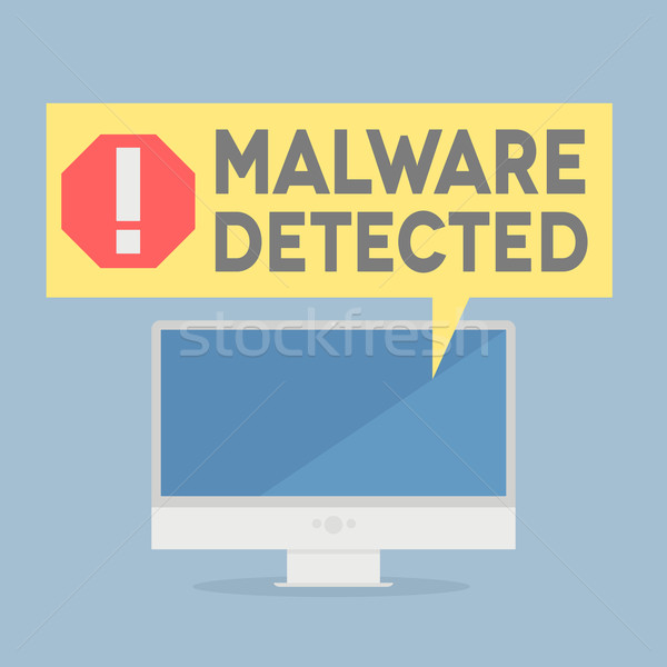 Malware illustratie monitor alarm tekstballon Stockfoto © unkreatives