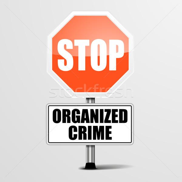 Stoppen georganiseerd criminaliteit gedetailleerd illustratie Rood Stockfoto © unkreatives
