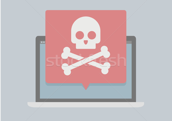 Laptop képernyő koponya fehér vírus kalózkodás Stock fotó © unkreatives