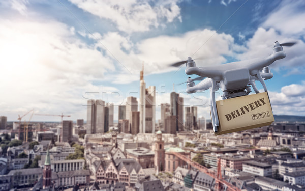 Drone with package over Frankurt Skyline Stock photo © unkreatives