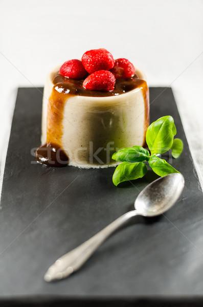 Strawberry Pannacotta And Spoon On Dish Stock photo © unkreatives