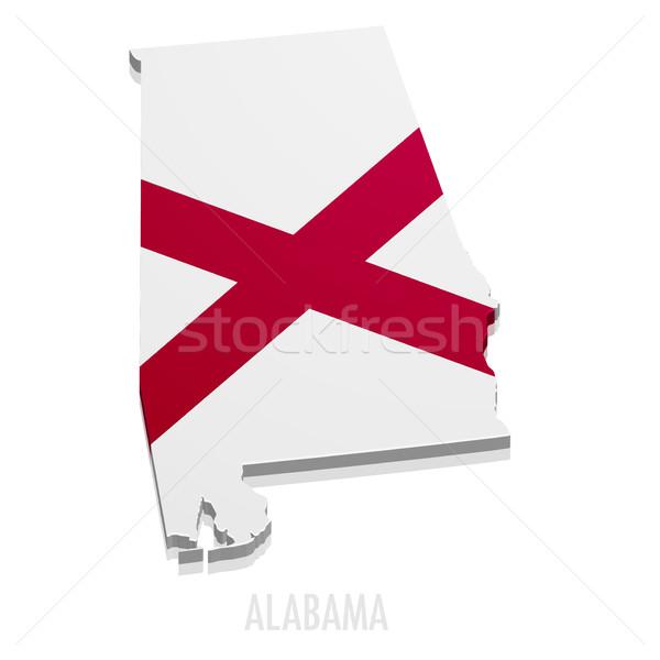 Térkép Alabama részletes illusztráció zászló eps10 Stock fotó © unkreatives