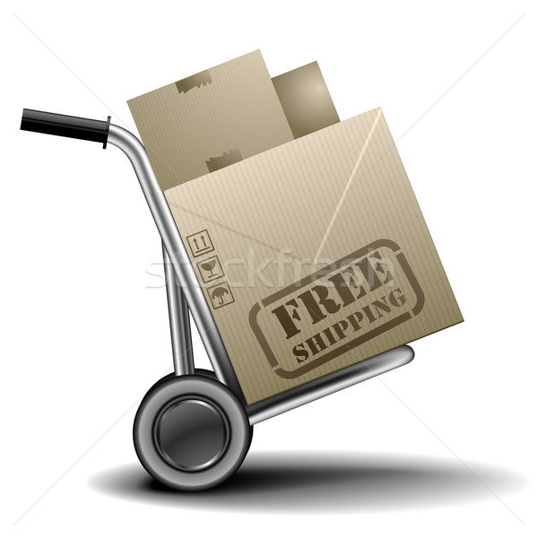 handtruck_free_shipping Stock photo © unkreatives