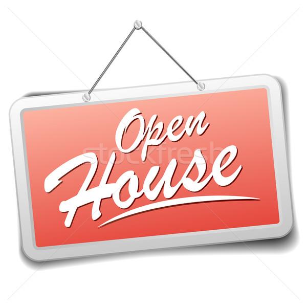 Signo abierto casa detallado ilustración rojo Foto stock © unkreatives
