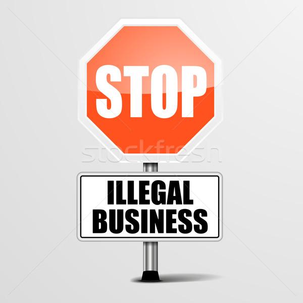 Parada ilegal negocios detallado ilustración rojo Foto stock © unkreatives