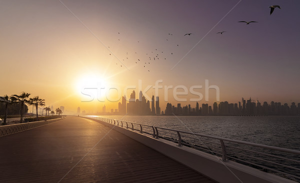 Dubai skyline vuota mattina sole cielo Foto d'archivio © unkreatives