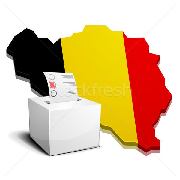 Belçika ayrıntılı örnek 3D harita bayrak Stok fotoğraf © unkreatives