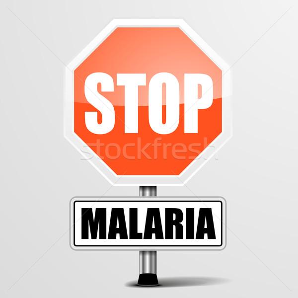 Vermelho malária sinal de parada detalhado ilustração pare Foto stock © unkreatives