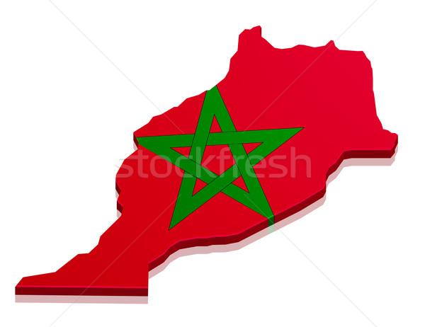 Kaart Marokko gedetailleerd illustratie vlag eps10 Stockfoto © unkreatives