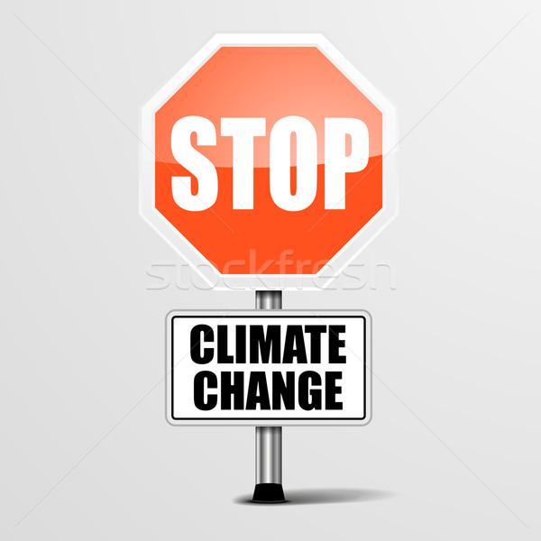 Arrêter changement climatique détaillée illustration rouge signe Photo stock © unkreatives