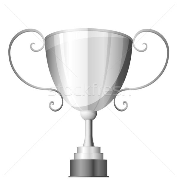 Srebrny trofeum szczegółowy ilustracja sportu tle Zdjęcia stock © unkreatives