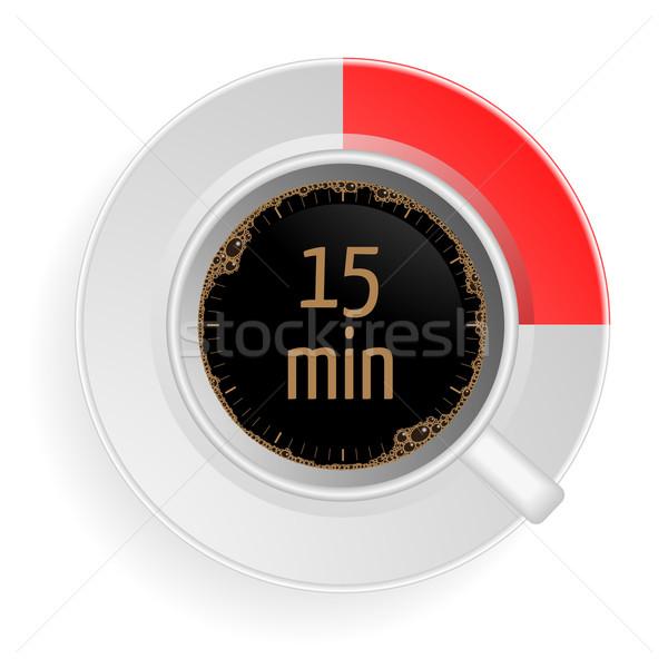 Pause café détaillée illustration tasse café rouge Photo stock © unkreatives