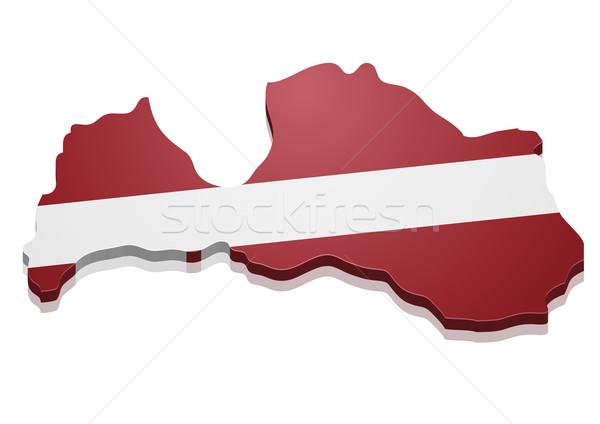 Kaart Letland gedetailleerd illustratie vlag eps10 Stockfoto © unkreatives