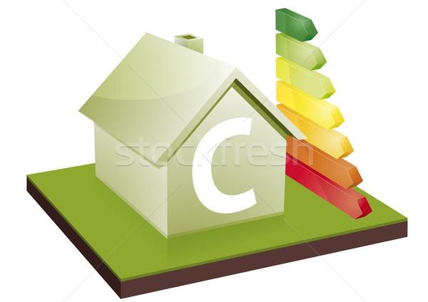 Huis energie-efficiëntie klasse bars tonen letter c Stockfoto © unkreatives