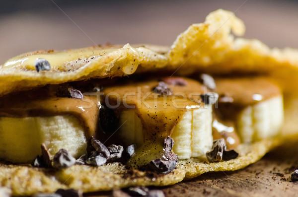 блин бананы чипов сироп таблице Сток-фото © unkreatives