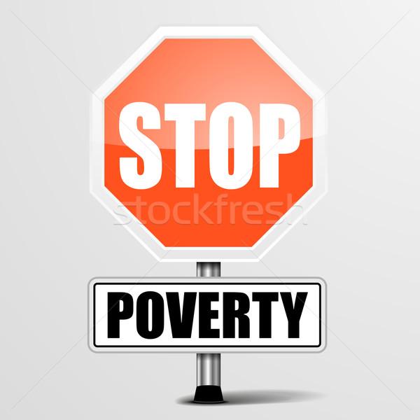 остановки нищеты подробный иллюстрация красный знак Сток-фото © unkreatives