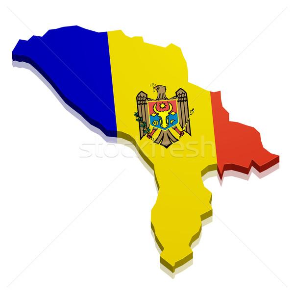 Térkép Moldova részletes illusztráció zászló eps10 Stock fotó © unkreatives