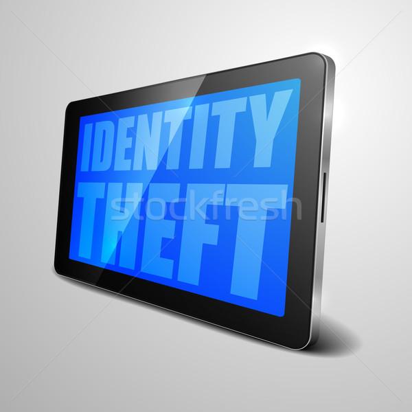 Tabletka kradzież tożsamości szczegółowy ilustracja urządzenie Zdjęcia stock © unkreatives