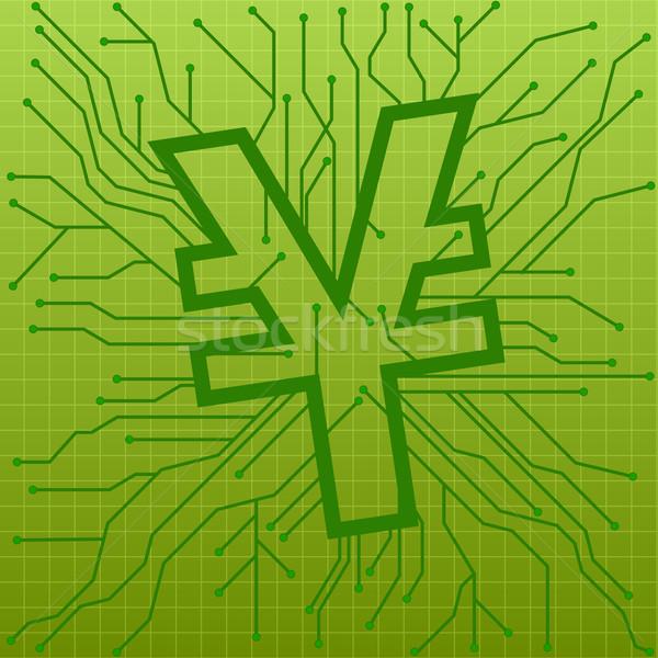 Nyáklap yen illusztráció zöld felirat szimbólum Stock fotó © unkreatives