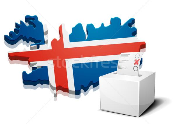 Islande détaillée illustration carte eps10 vecteur Photo stock © unkreatives